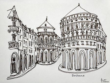 bordeaux street scene in the old