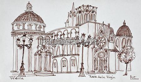 valencia cathedral in plaza de la