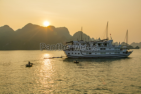 sunset halong bay vietnam asia