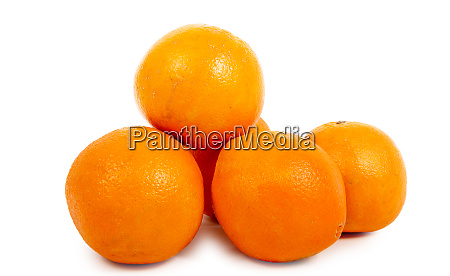 pile of ripe oranges isolated on