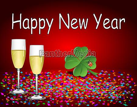dekorative glaenzend rot happy new year