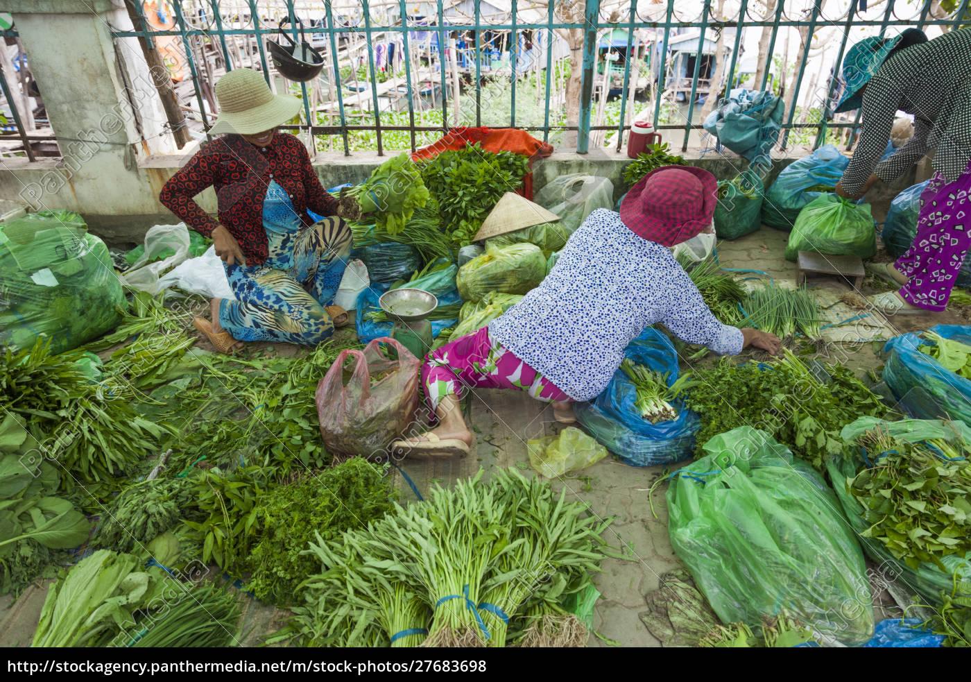 vietnam, mekong, delta., chau, doc, hau, giang, river, produzieren - 27683698