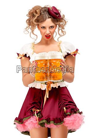 bier tassen oktoberfest fest ausdruck kellnerin