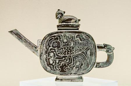 bronze wine vessel exhibit at the