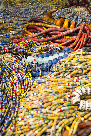 beaded necklaces for sale at an