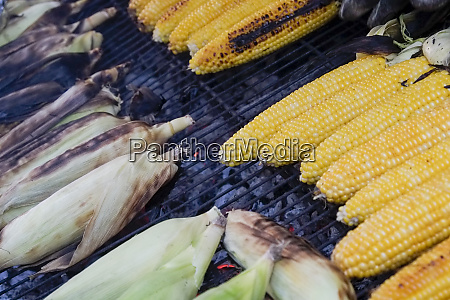 corn grilling at a farmers market