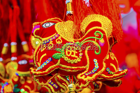 red ancient dogs decorations beijing china