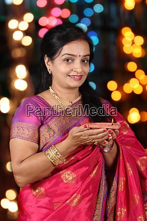 indian woman in diwali festival