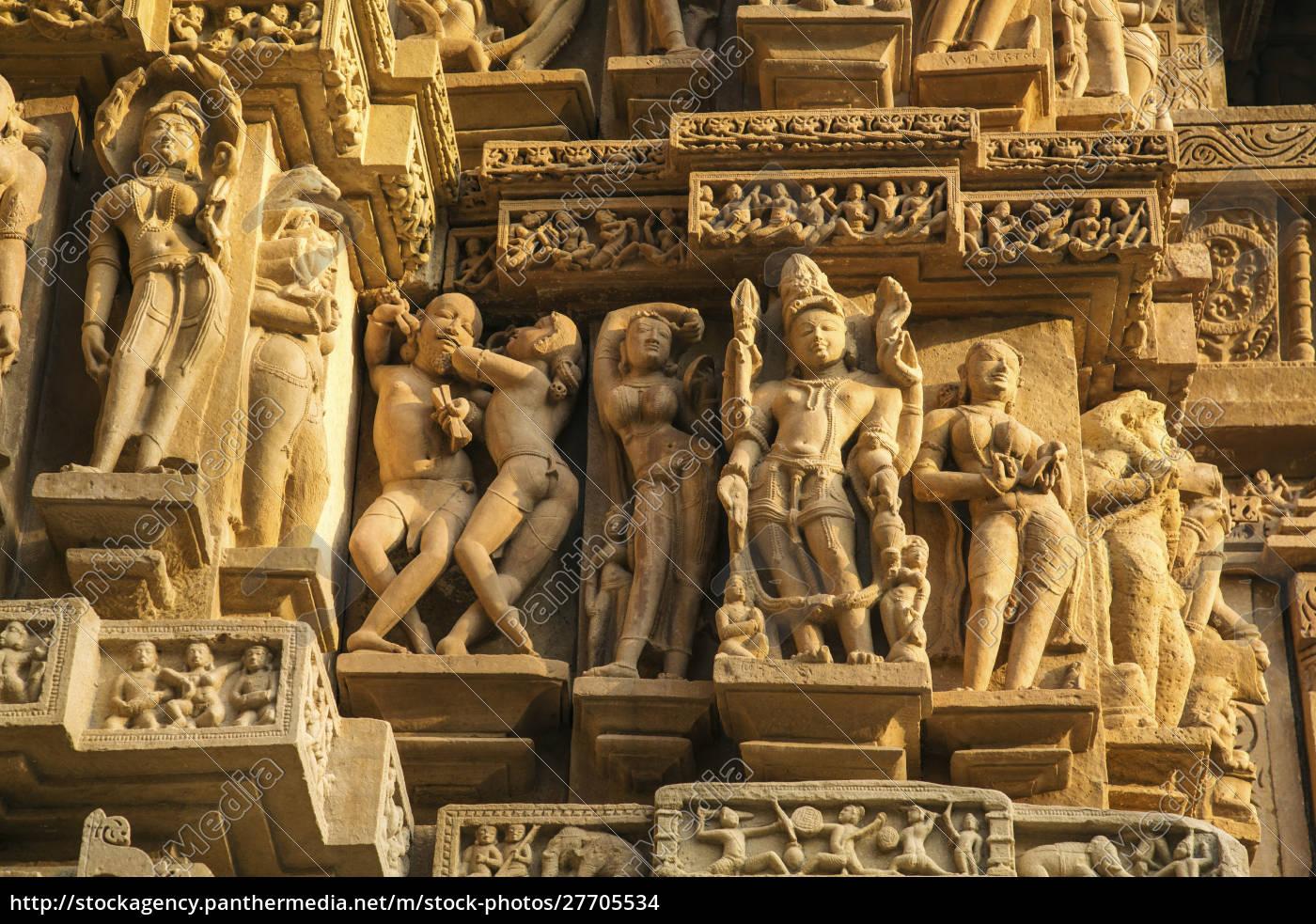 erotische, skulpturen, von, khajuraho, madhya, pradesh, indien. - 27705534