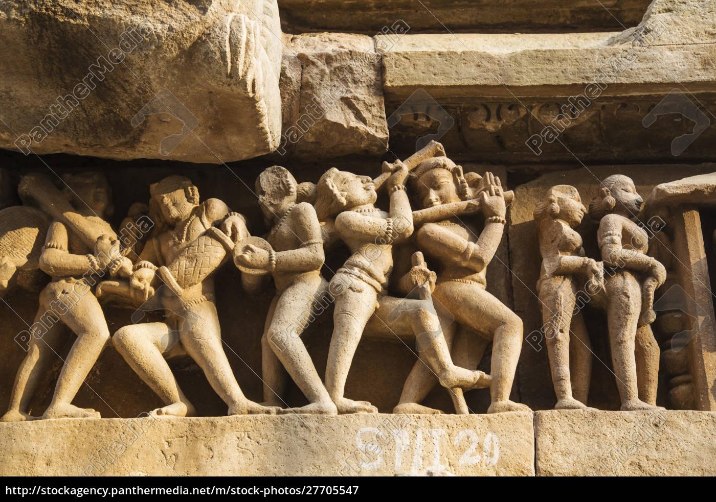 erotische, skulpturen, von, khajuraho, madhya, pradesh, indien. - 27705547
