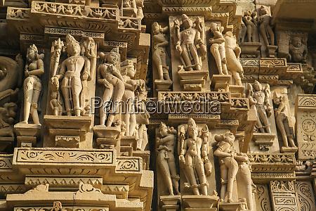 erotische, skulpturen, von, khajuraho, madhya, pradesh, indien. - 27705554