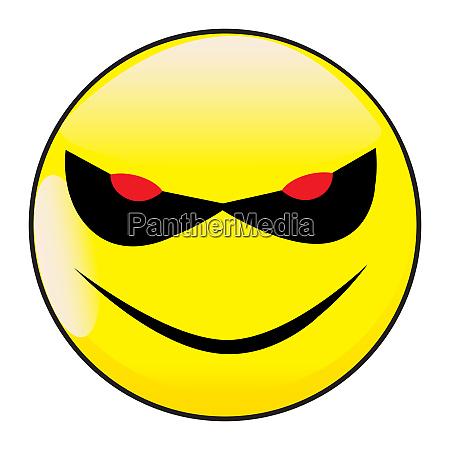 boeses laecheln gesicht button emoticon