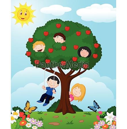 cartoon children playing illustration in an