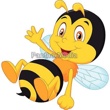 suesse kleine bienen cartoon winken hand