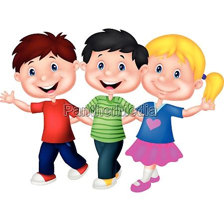 happy children walking together