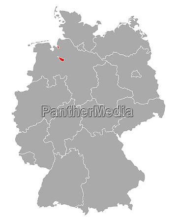 karte von bremen in deutschland
