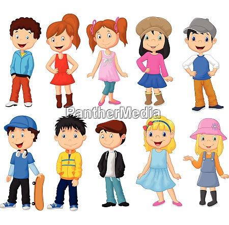 cartoon jungen und maedchen sammlung set