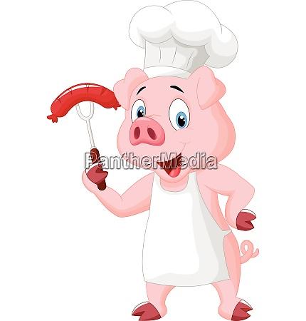schwein chef cartoon mit wurst auf