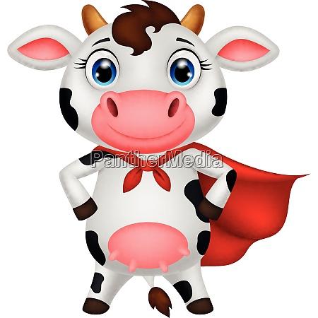 superheld kuh cartoon posiert