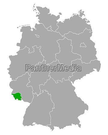 karte von saarland in deutschland