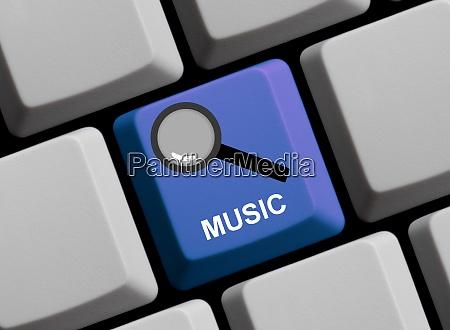 lupensymbol auf blauer computertastatur find
