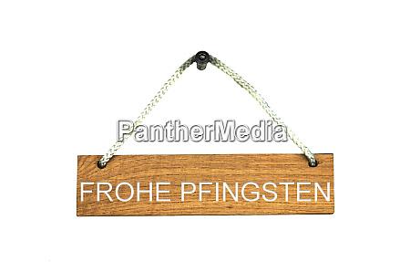 holzschild mit seil happy pentecost deutsch
