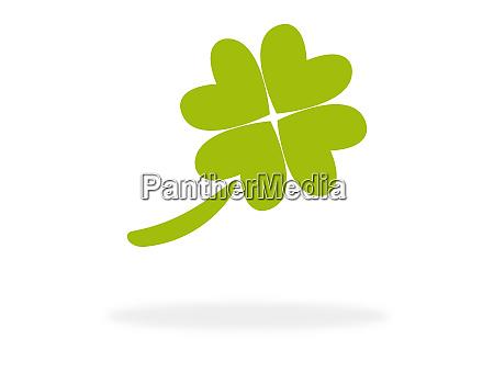 gruenes kleesymbol mit 4 blaettern