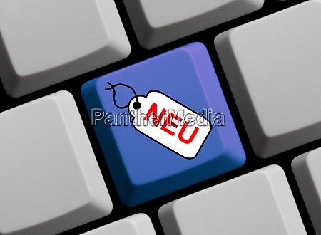 computertastatur mit tag mit neu in