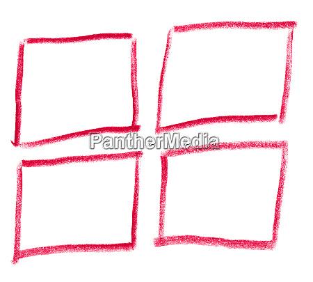 handgezeichnete rechtecke mit roter farbe