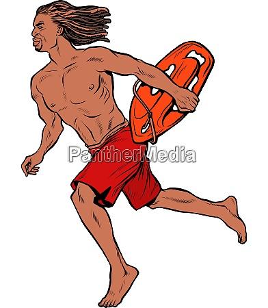 wasserretter hawaiian mann laeuft zu hilfe