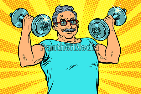 aelterer mann hebt hanteln fitness sport