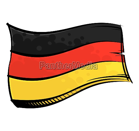 painted germany flag waving in wind