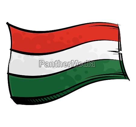 bemalte ungarn flagge weht im wind