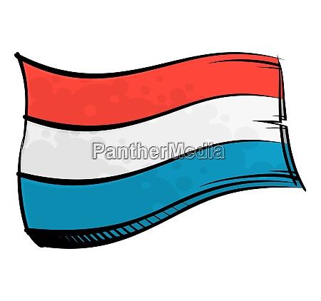 bemalte luxemburg flagge weht im wind