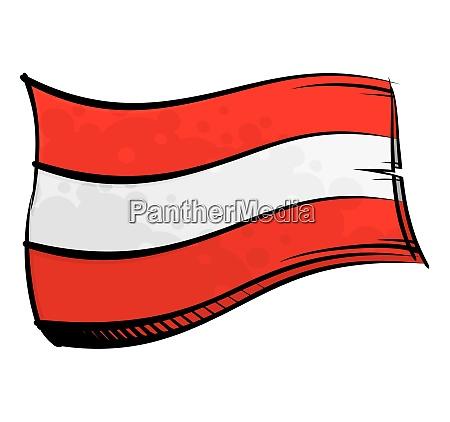 bemalte OEsterreich flagge weht im wind