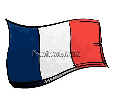 bemalte frankreich flagge weht im wind