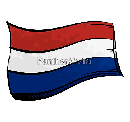 painted netherlands flag waving in wind