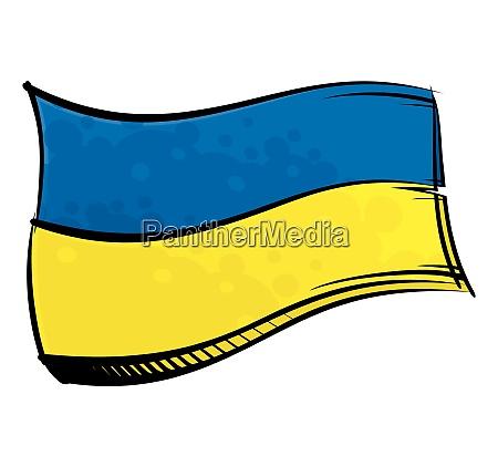 bemalte ukraine flagge weht im wind