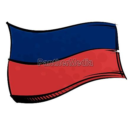 bemalte haiti flagge weht im wind