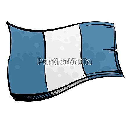 bemalte guatemala flagge weht im wind