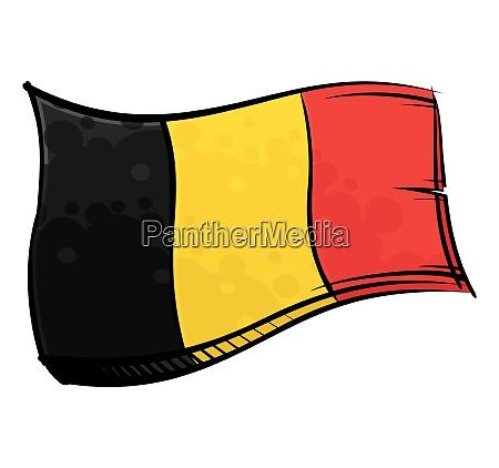 bemalte belgien flagge weht im wind