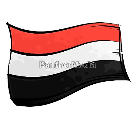 painted yemen flagge waving in wind