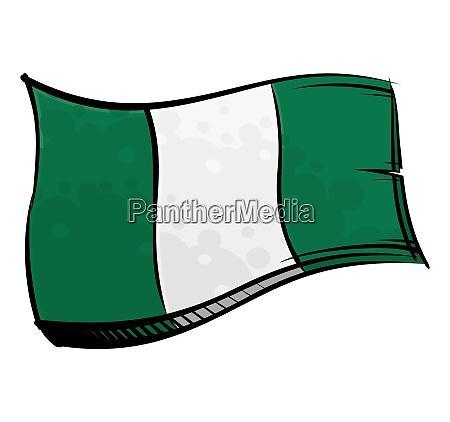 bemalte nigeria flagge weht im wind