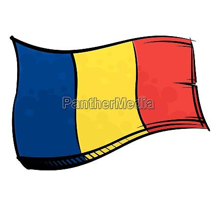 bemalte rumaenien flagge winkend im wind