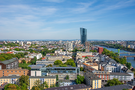 aerial view over frankfurt and the