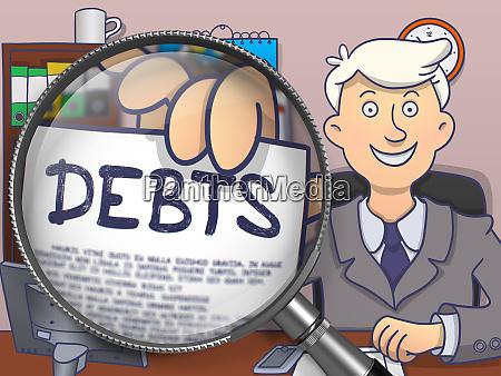 schulden durch lupe doodle design