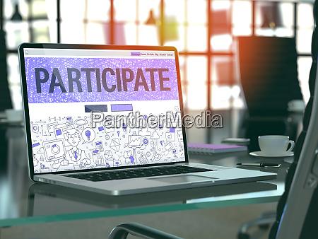 participate concept auf dem laptop bildschirm