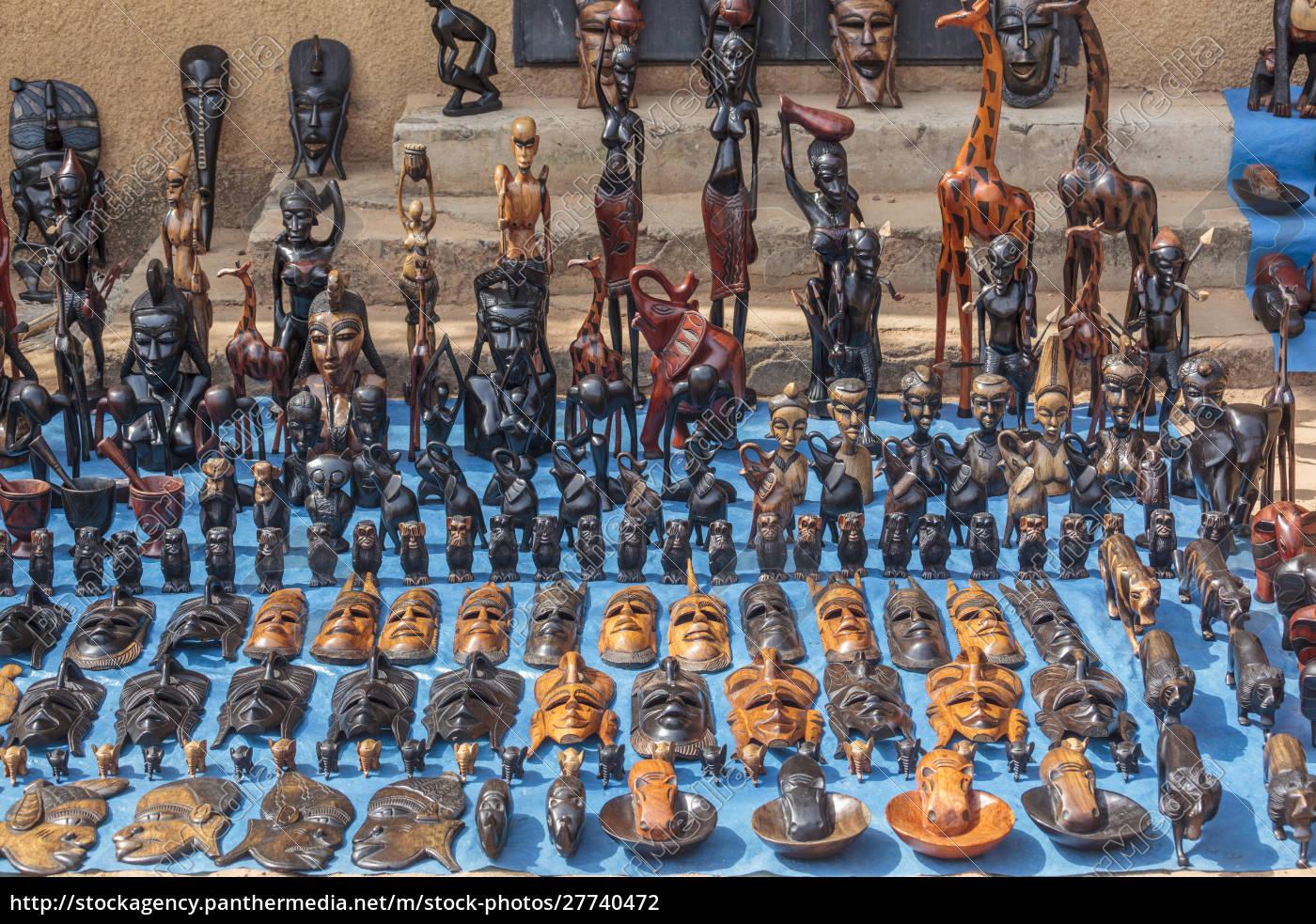 afrika, gambia, banjul., holzmasken, tiere, und, andere, handwerke, zum - 27740472