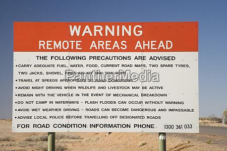 remote area warning sign birdsville track