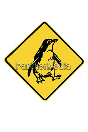 pinguin warnschild australien